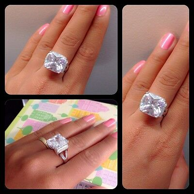6.8 CT Brilliant cut Diamond Solitaire Engagement Ring Solid In Sterling Silver