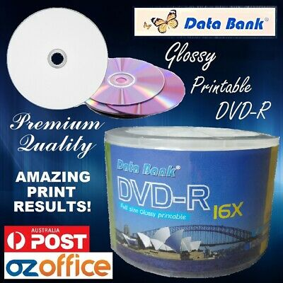 PREMIUM Data Bank Glossy Printable DVD 16x Blank DVD-R Discs - Print to Centre