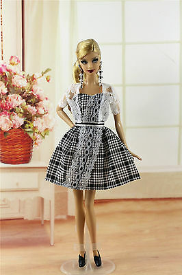 3in1 Fashion Clothes/Outfit Lace Coat+Sheath Dress+Shoes For Barbie Doll M107U