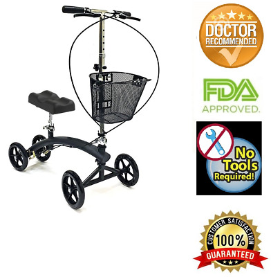 Knee Walker Steerable scooter W/Handle Brake and Basket