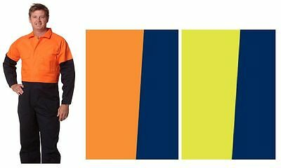 Mens Two Tone Coverall Overall Fluro Yellow Orange Navy Work Wear Long Sleeve
