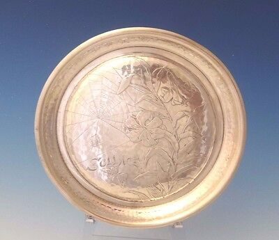 """Antique Hammered by Whiting Sterling Silver Round Tray Acid Etched 7"""" (#0042)"""