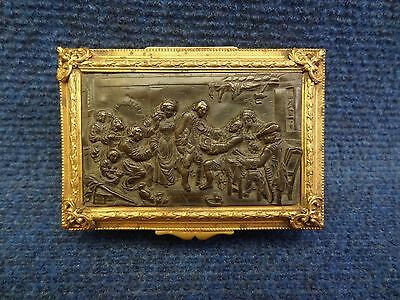 Trinket Box Two Patina Bronze Lid With Tavern Scene Greuze French Perfect
