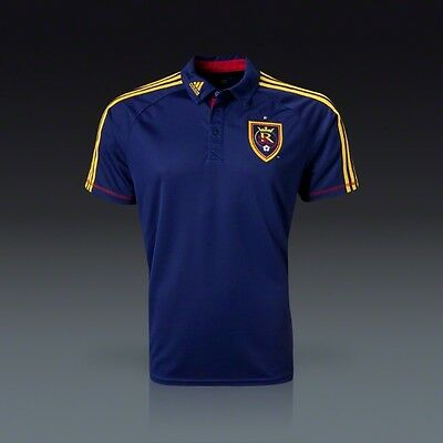 Adidas RSL Real Salt Lake POLO SHIRT CLIMALITE TOP JERSEY LARGE L FORMOTION BLUE