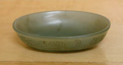 Chinese Celadon Jade Finely Hand Carved Small Dish, 19th Century