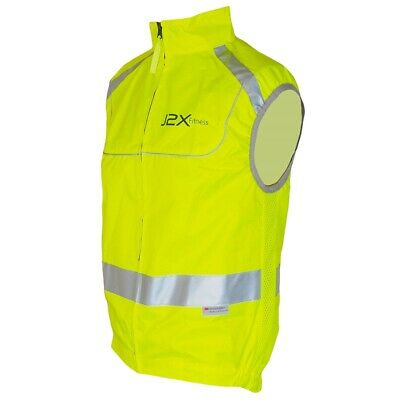 J2X Fitness Full Zip High Visibility Reflective Cycling Gilet Vest Top Hi Viz