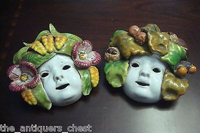 """ITALIAN MAJOLICA PAIR OF HARVEST AND SPRING MASKTS, 5 1/2"""" by 6"""", hand marked CT"""