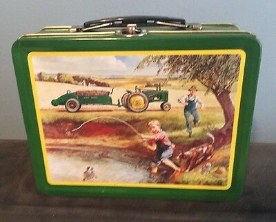 John Deere Tractor Tin Lunch Box Boy Fishing Caught Turtle Trouble Dog
