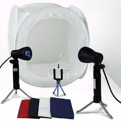 "24"" Photo Studio Photography Light Tent Backdrop Kit Lighting in a Box 60cm Cube"