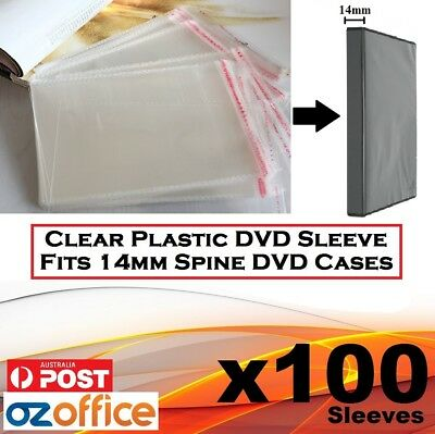 100 x PP Plastic Sleeve Cellophane Wrapping 14mm CD DVD Cover BDR Disc Movie