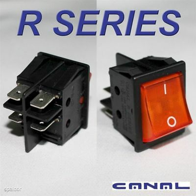 Canal R Series Orange Illuminated Rocker Switch Double Pole 20A 16A