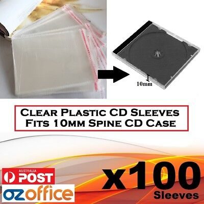 100 x PP Plastic Sleeve Cellophane Wrapping Fits Standard 10.2mm CD Case Digipak
