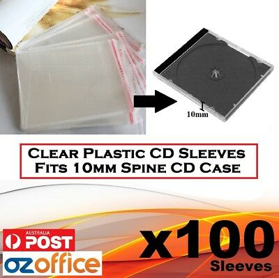 100 x PP Plastic Sleeve Cellophane Wrapping Fits Standard 10.2mm CD Case Cover