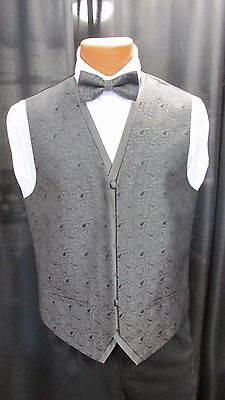 After Six Paisley Fullback Vest W/Match Bow in 8 Colors S to XXL Wedding Prom