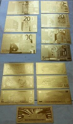 2 Set di Banconote d'oro 24kt Certificate Banknotes Euro And $Dollar in Gold 999
