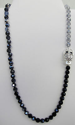 """Adorable Owl Clasp~Crystal Necklace~Ombre Black Blue Silver~Gift For Teacher~23"""""""