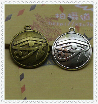 5/15pcs Bronze/silver Egyptian Eye of Horus / Ra Amulet Pendant Chain Necklace