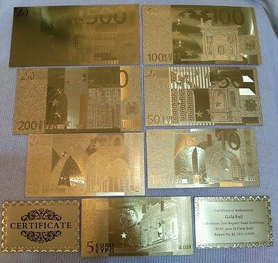 Lot Gold 24kt 5-10-20-50-100-200-500€ Collection Banknotes Euro with certificate