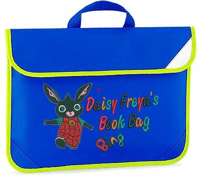 Personalised Embroidered Kids book bag for school- Bing (from Cbeebies) design.