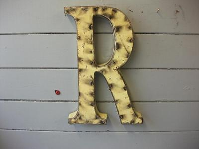 "RECYCLED TIN LETTERS  HANDMADE  ~ YELLOW R ~  28cm / 11"" shabby meets industrial"