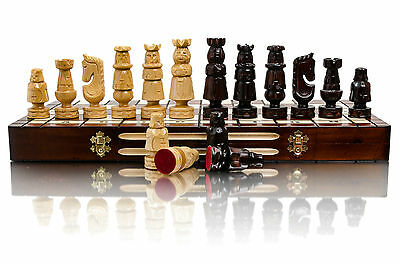 "Fabulous ''ADMIRAL"" 55x55 Beautifully Hand Carved Large Wooden Chess Set!"