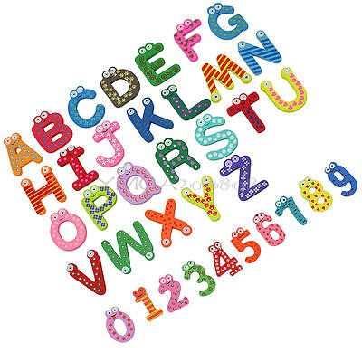 36x Cartoon Design Wooden Letters Numbers Refrigerator Fridge Magnets Kids Toys