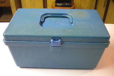 Vintage Blue Wil Hold Sewing Box with Insert Tray