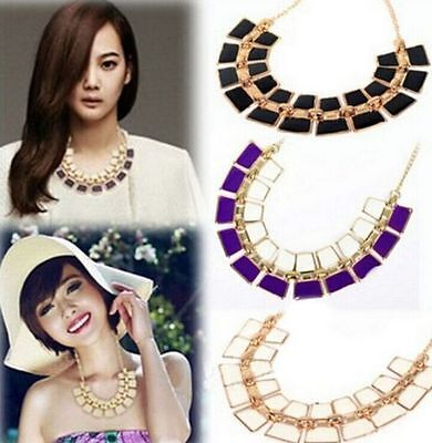 Hot Women Fashion Alloy Pendant Chain Choker Chunky Statement Bib Necklace