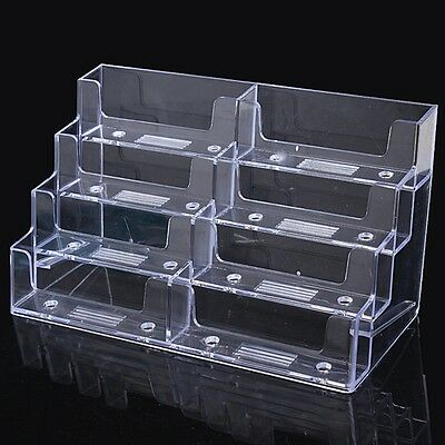 8 Pocket Desktop Clear Acrylic Business Card Holder Countertop Display Stand Hot