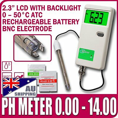 AU Shipping Rechargeable PH Meter Monitor Tester Gauge BNC probe Adapter Backlit
