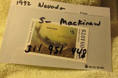 Nevada Trout Stamp 1993 Mackinaw In Card