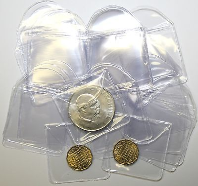"Plastic Coin Envelopes or Holders 2"" x 2"" With Tuck in Flap 10 to 1000 Quantity"