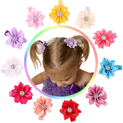 11pcs Kids Baby Girl Infant Toddler Flower Hair Bow Clips Accessories Hairpins