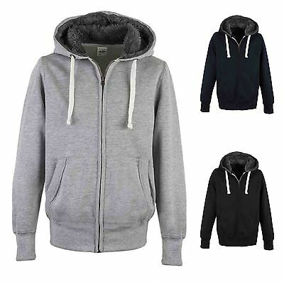 Mens Hoodie Heavy Weight Thick Warm Fur Lined Hood Casual Fashion Zip Up Hoody