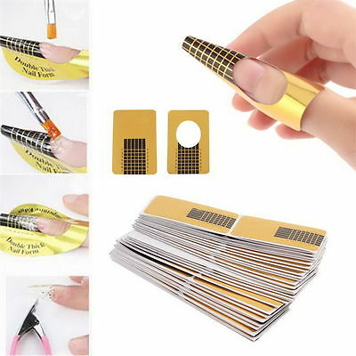 100Pcs Nail Art Tips Extension Forms Guide French DIY Tool Acrylic UV Gel New