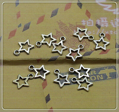 100/300pcs Antique silver lovely delicate small five-pointed star charm pendant