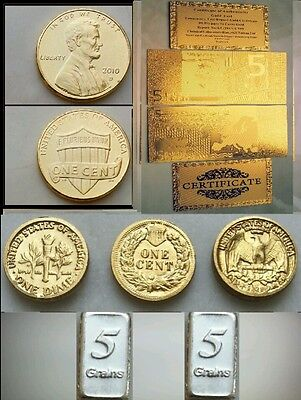 In Lotto 5 Euro D'oro 24Kt E Lingotti Lot Of Coins Gold Banknote Silver Ingots
