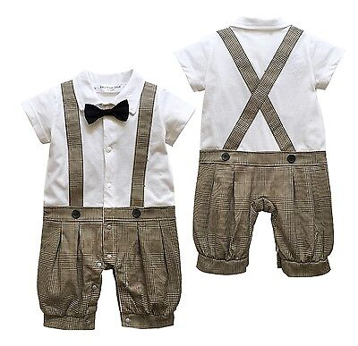 Baby Page Boy Christening Wedding 1pc Short Outfit With Bow Tie 0-24 Month