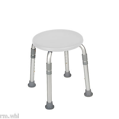 Height Adjustable Round Shower Stool Seat Chair Medical Bath Bench Bathtub White
