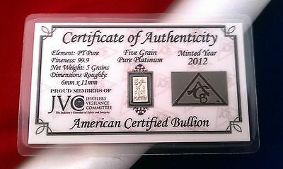 ACB Platinum 5GRAIN SOLID BULLION MINTED BAR 99.9  Pure PT With COA! !