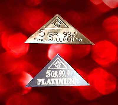 ACB Palladium & Platinum x2 Pyramids 5GRAIN SOLID BULLION MINTED BAR 99.9 Pure +