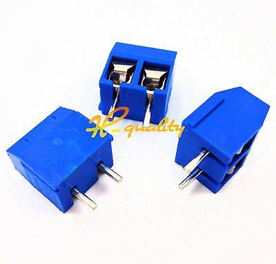 50pcs KF301-2P 2 Pin Plug-in Screw Terminal Block Connector 5.08mm Pitch