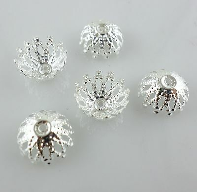 50/200/1500pcs Silver color Metal End Bead Caps DIY Jewelry Findings