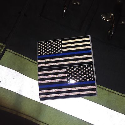 "Subdued Reflective Thin Blue Line American Flags Mirrored 3""- POLICE FIRE DECAL"