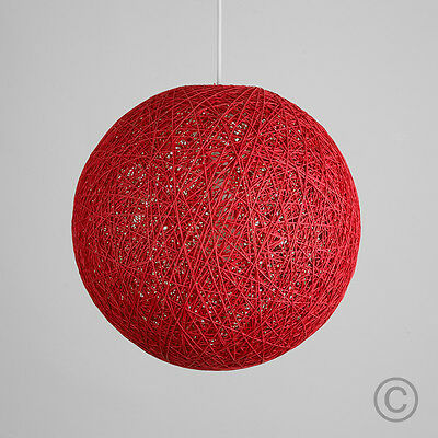 Contemporary 20cm Red Wicker Abaca Ball Ceiling Light Pendant Shade Lampshade