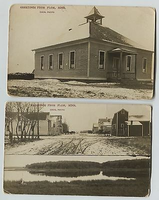 2 1910 Era  Flom Minnesota Mainstreet & School Real Photo Postcards RPPC