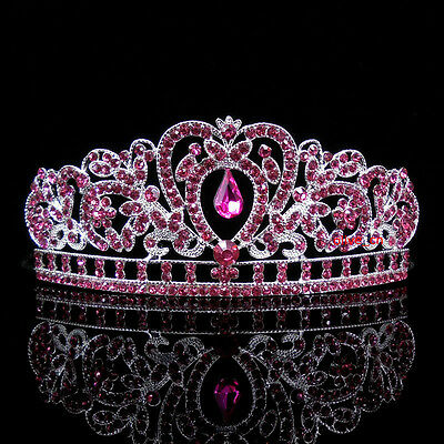 Kids Pink Heart Girl Children Wedding Prom Tiara Crown Headband - Kid Size