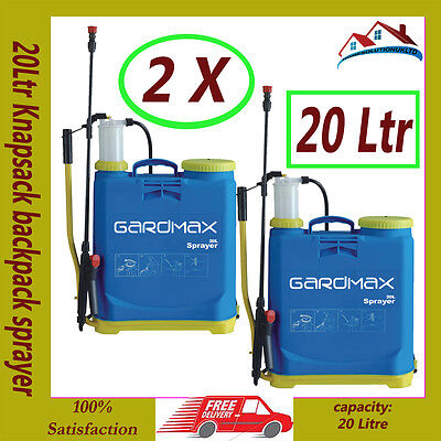 NEW 2 X 20L Garden Backpack Pressure Sprayer Knapsack Weed Chemical Weedkiller
