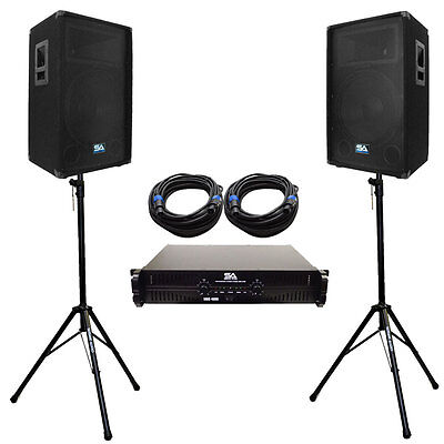 """Pair 12"""" PA DJ Speakers with Amplifer Stands & 50' Cables Pro Audio LoudSpeakers"""