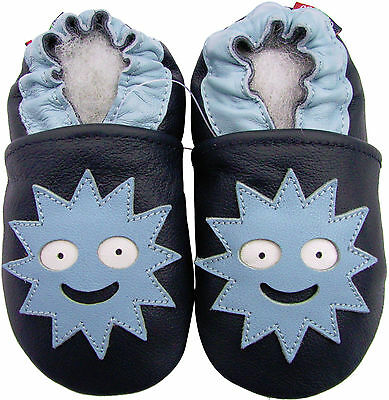 carozoo monster dark blue 3-4y soft sole leather toddler shoes slippers